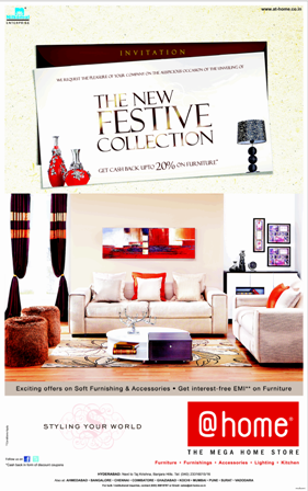 Get Cash Back Upto 20 On Furniture The New Festive Collection Home At Hyderabad Dealshut