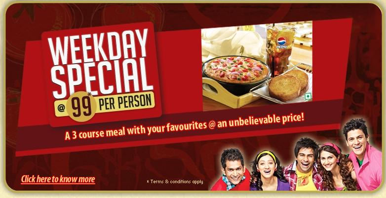 Pizza Hut Presents Weekday Special 3 Course Meal At Rs 99 Per Person At Hyderabad Dealshut