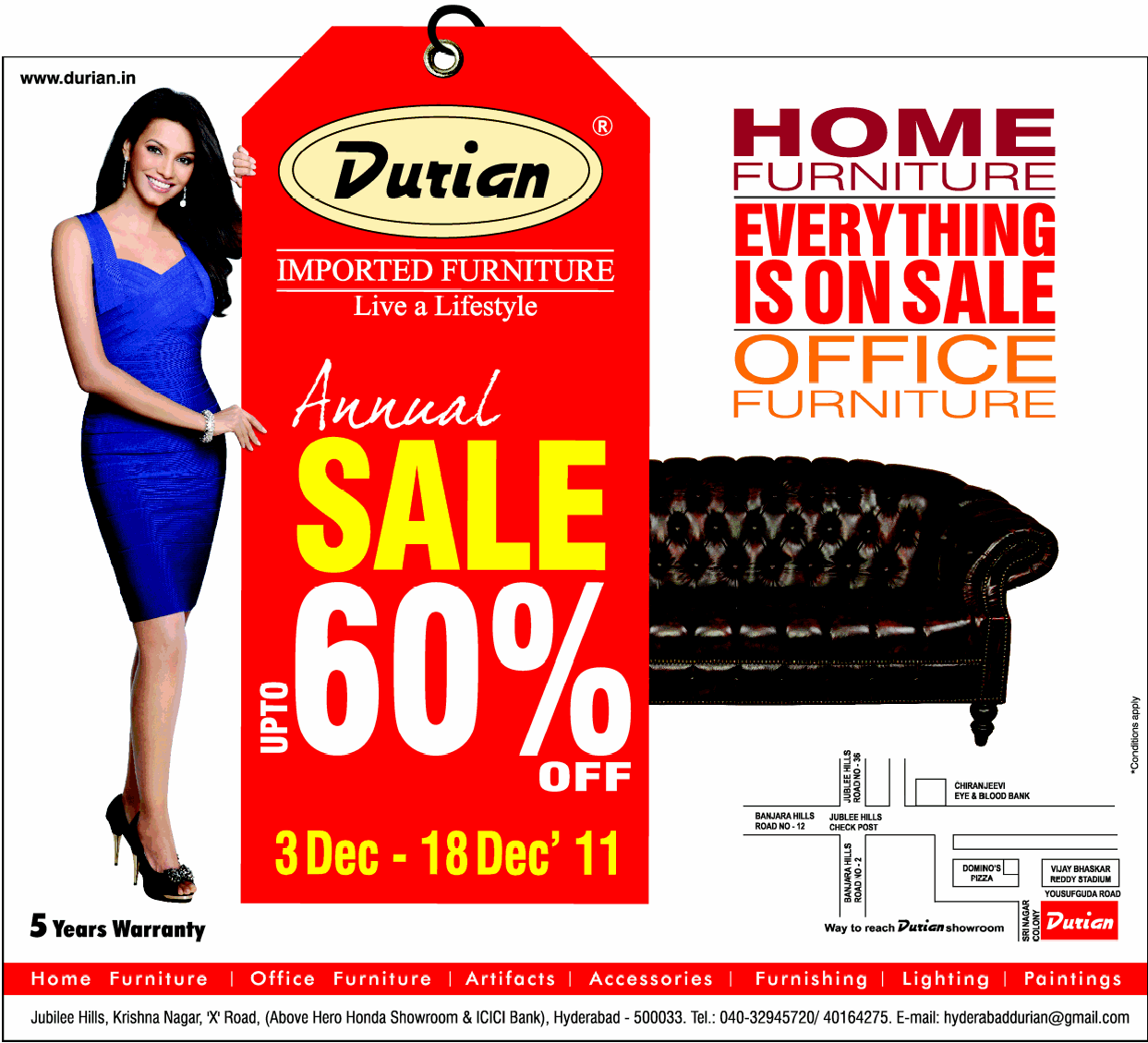 Durian presents annual sale upto 60 off on furniture from 3rd december to 18th december2011