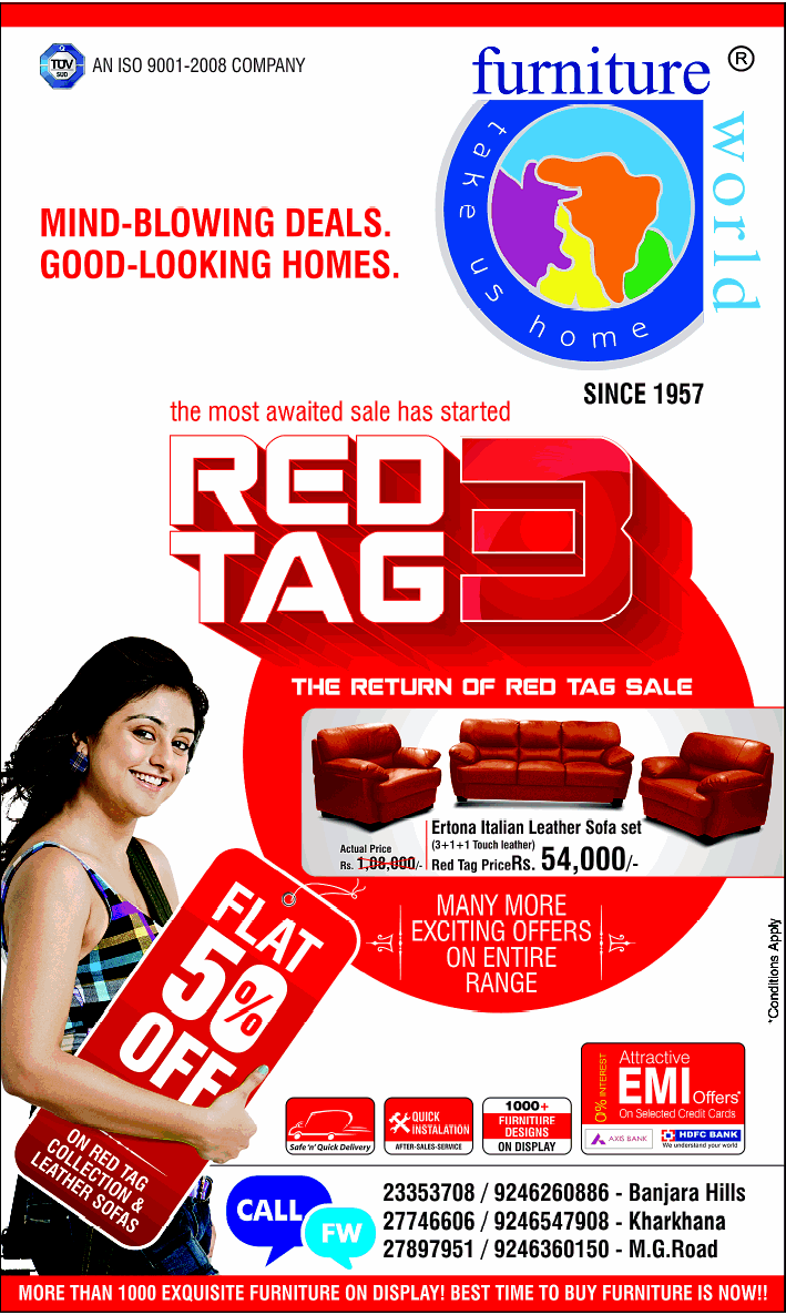 The return of red tag sale flat 50 off at furniture world for Best time of the year to buy furniture on sale