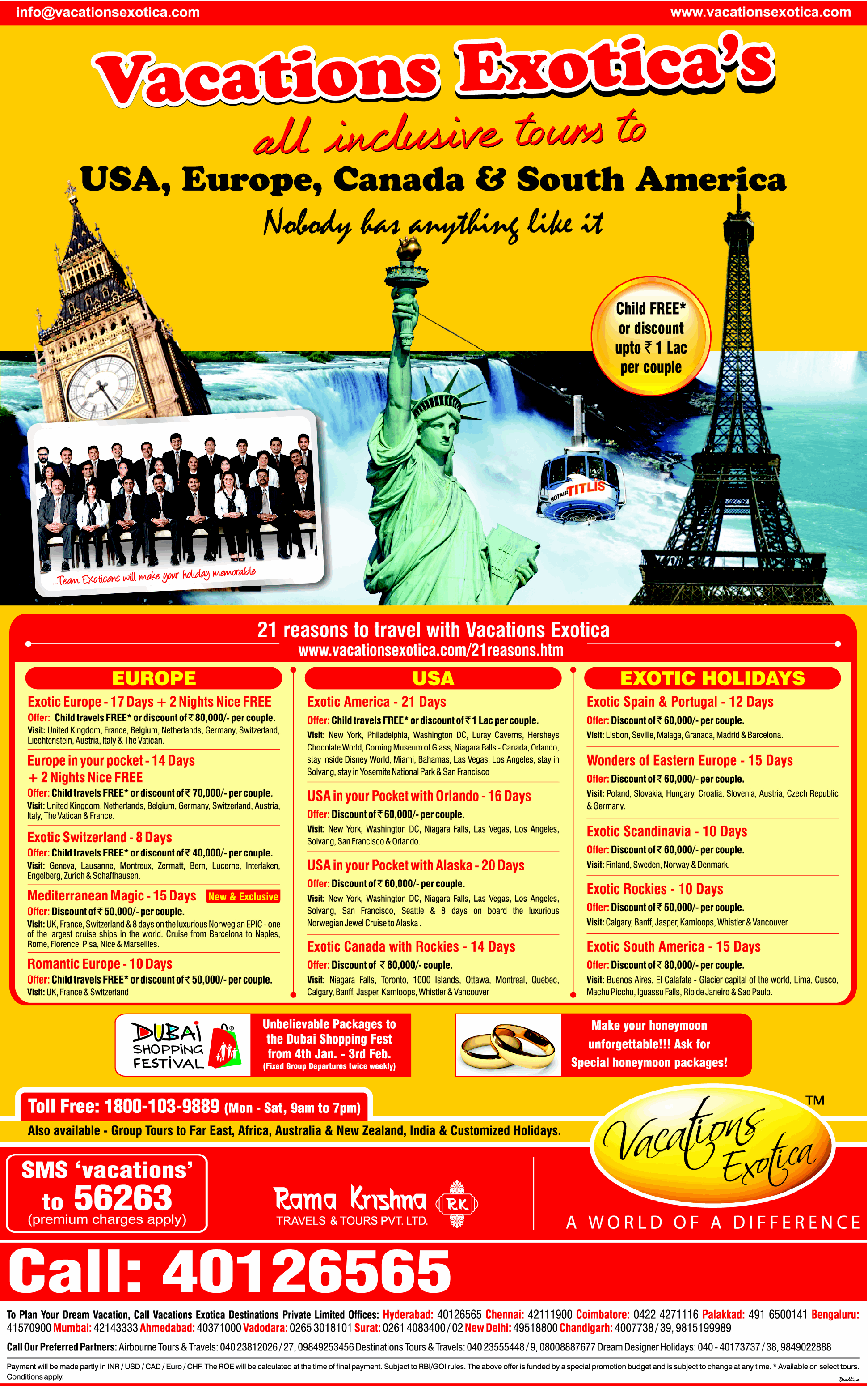 Vacations Exotica's all inclusive tours to USA,Europe ...
