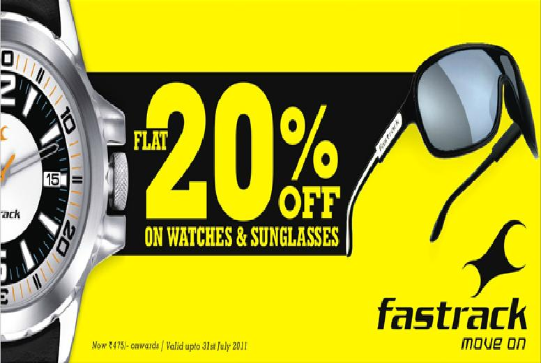 flat 20 off on fastrack watches and sunglasses at