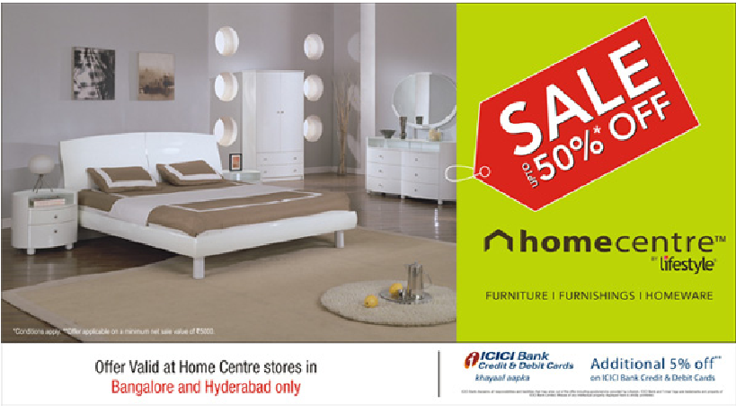 Get Upto 50 Off At Home Center Lifestyle Stores In Hyderabad And Banglore Dealshut