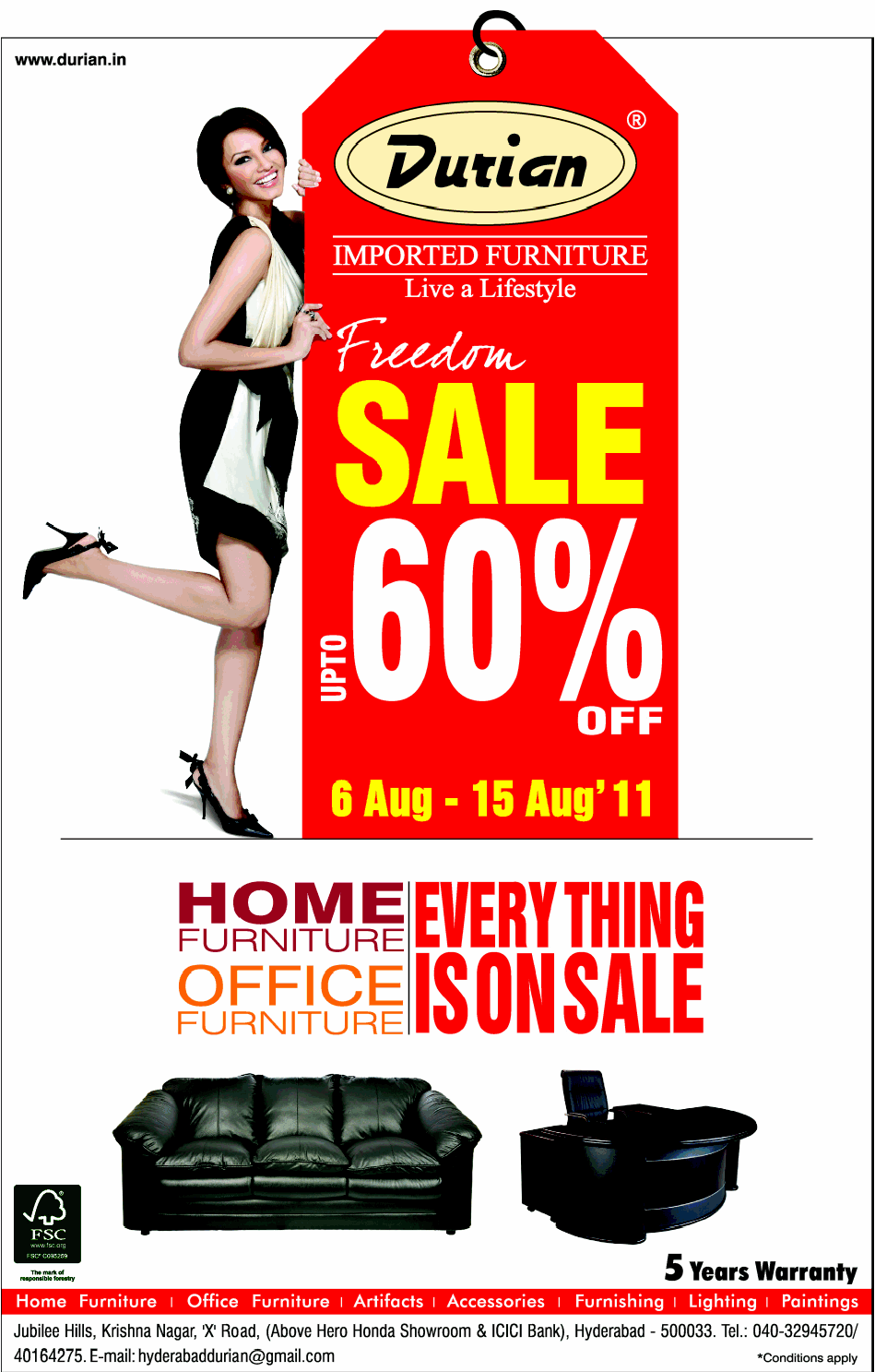 Freedom sale up to 60 off on furniture at durian hyderabad