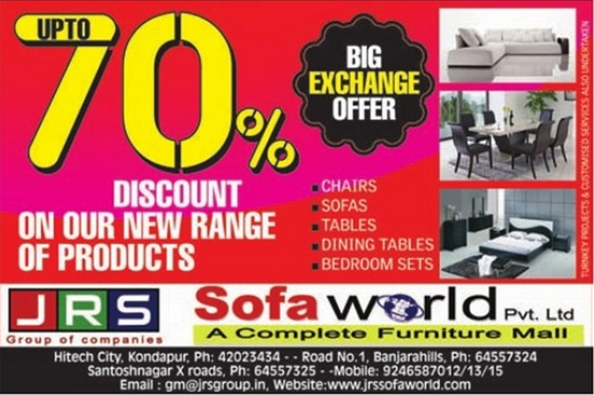 Sofa World Presents Exchange Offer Up To 70 On New Products At Hi Techcity