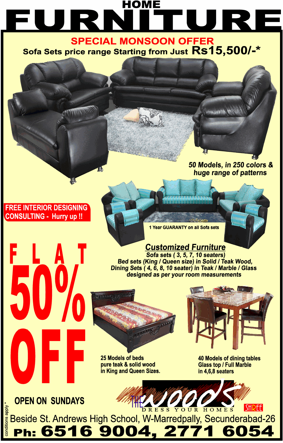Special Monsoon Offer On Home Furniture At Woods Hyderabad Dealshut