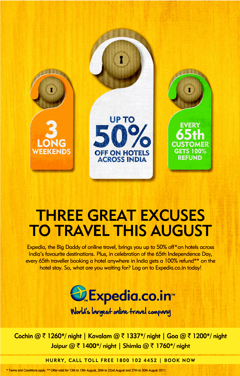 Expedia The Daddy Of Online Travel Brings You Up To 50 Off On Hotels Across India S Facourite Destinations Plus In Celebration 65th