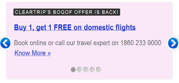 Cleartrip domestic flight coupons 2019