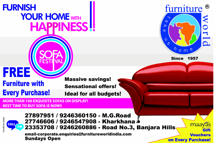 Furnish Your Home With Happiness Sofa Festival At Furniture World Hyderabad Dealshut