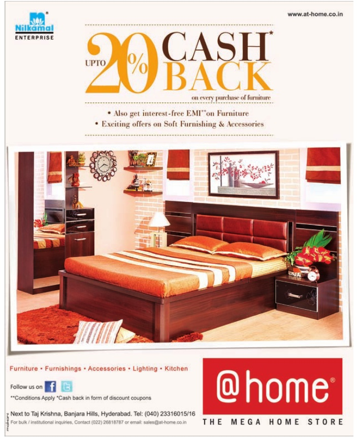 Get Upto 20% Cash Back On Every Purchase Of Furniture At