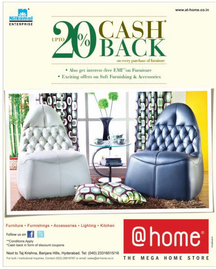 Upto 20 Cash Back On Every Purchase Of Furniture At Home Hyderabad Dealshut