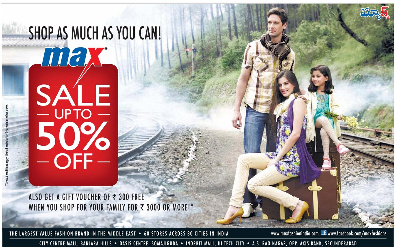 Max discount sale upto 50 off at hyderabad