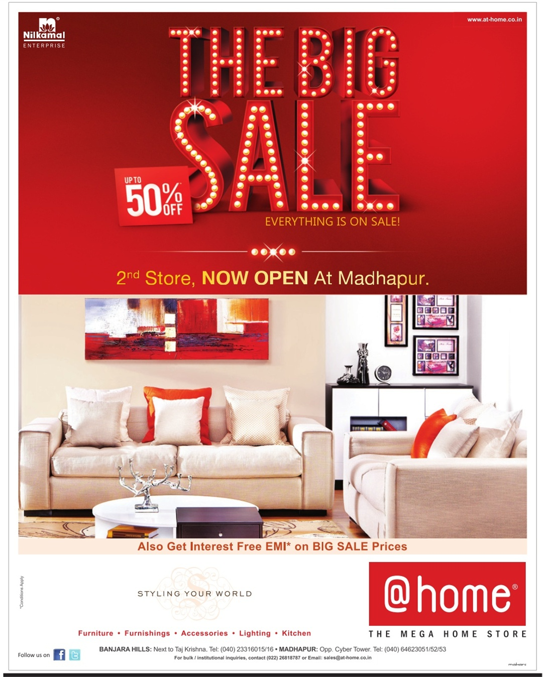 Sale Furniture Stores: THE BIG SALE UPTO 50% OFF On FURNITURE At @home, Hyderabad