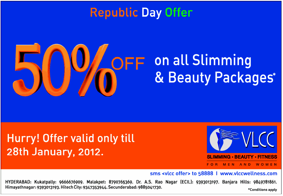 VLCC Republic Day offer 50% off on all slimming Packages ...