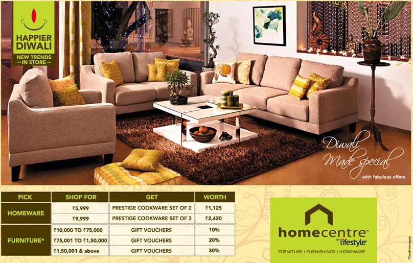 Home Centre Presents Festive Offers Upto 30 Worth Gift Vouchers On Purchase Of Furniture Dealshut