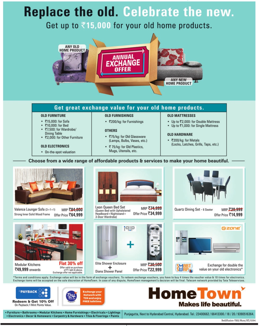 Bon ANNUAL EXCHANGE OFFER On All Furnishings And Furniture At Home  Town,Hyderabad