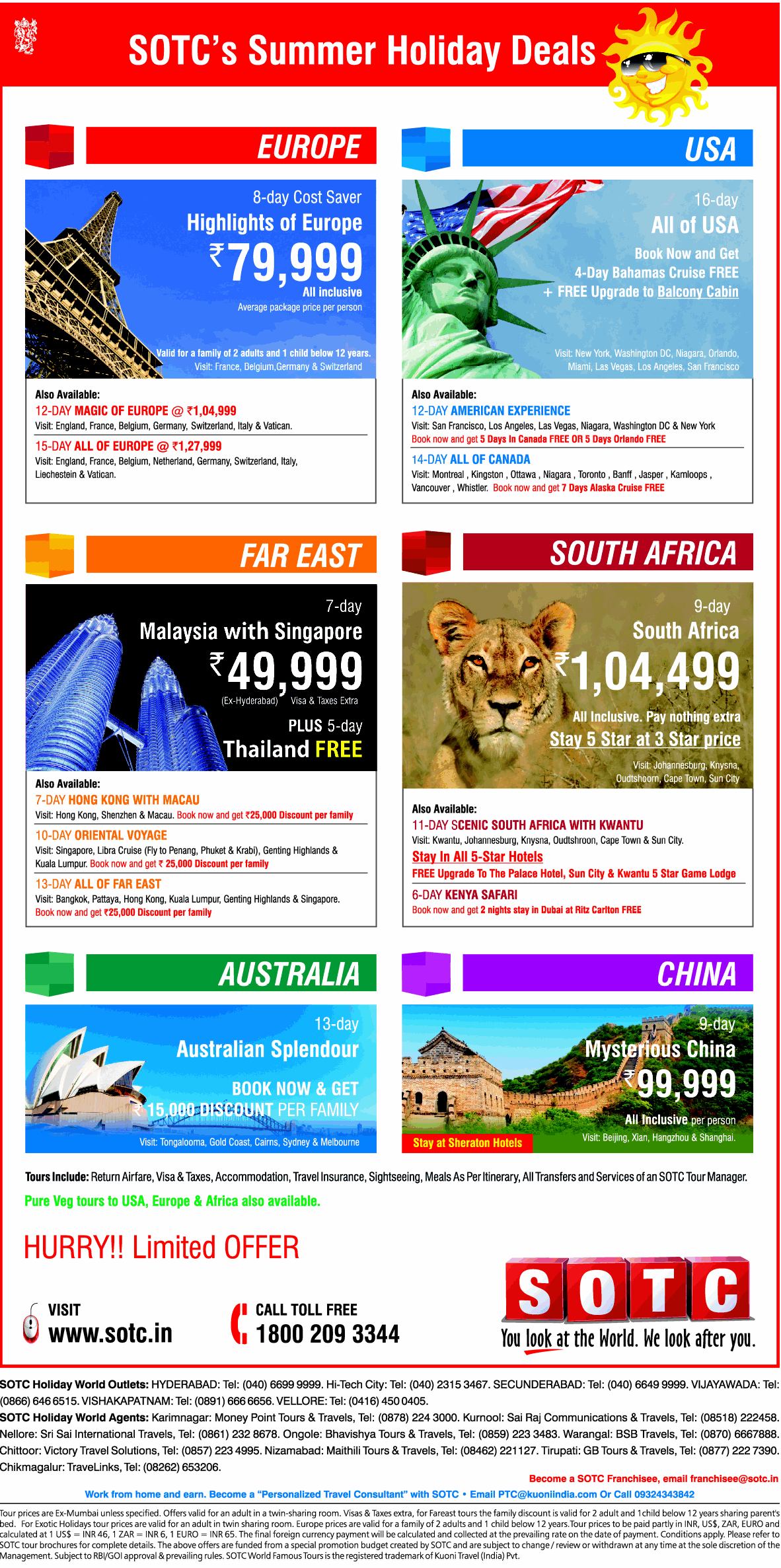 SOTCs SUMMER HOLIDAYS DEALS on all packages to world wide