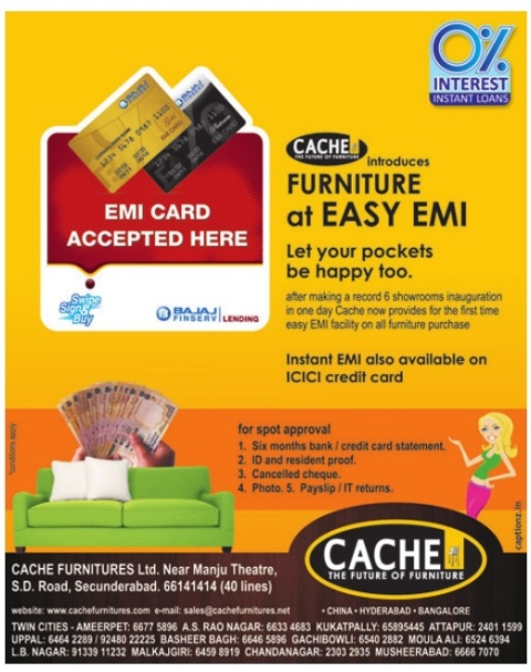 Genial Cache Furniture Introduces FURNITURE At EASY EMI On Credit Cards