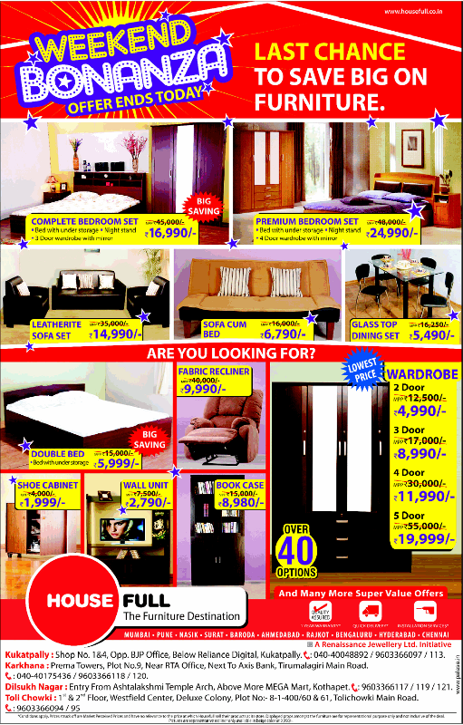 Houseful Presenting Weekend Bonanza Offers On Home Furniture At Hyderabad Dealshut