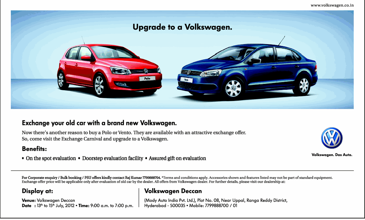 Volkswagen Presenting Special Exchange Offers On Polo And Vento Dealshut