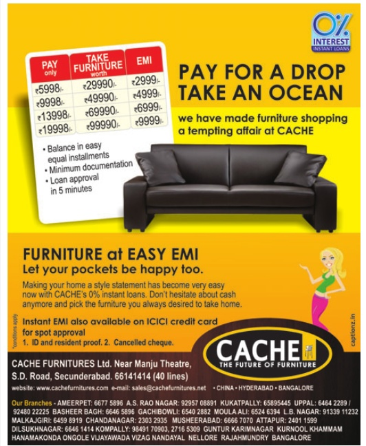 Bon PAY FOR A DROP TAKE AN OCEAN OFFER On Home Furniture From Cache Furniture,  Hyderabad