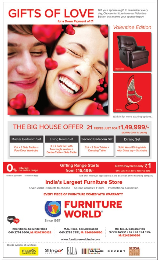 Furniture World presents Gifts Of Love on wide range of  : furniture world presents gifts of love o 41850a from www.dealshut.com size 529 x 869 jpeg 161kB