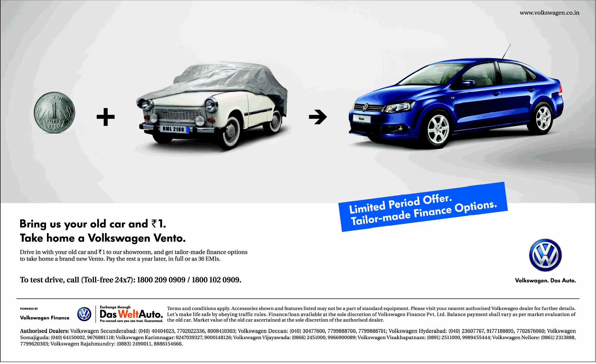 Exchange Old Car And Pay Just Rs 1 And Take Home A Volkswagen Vento Dealshut