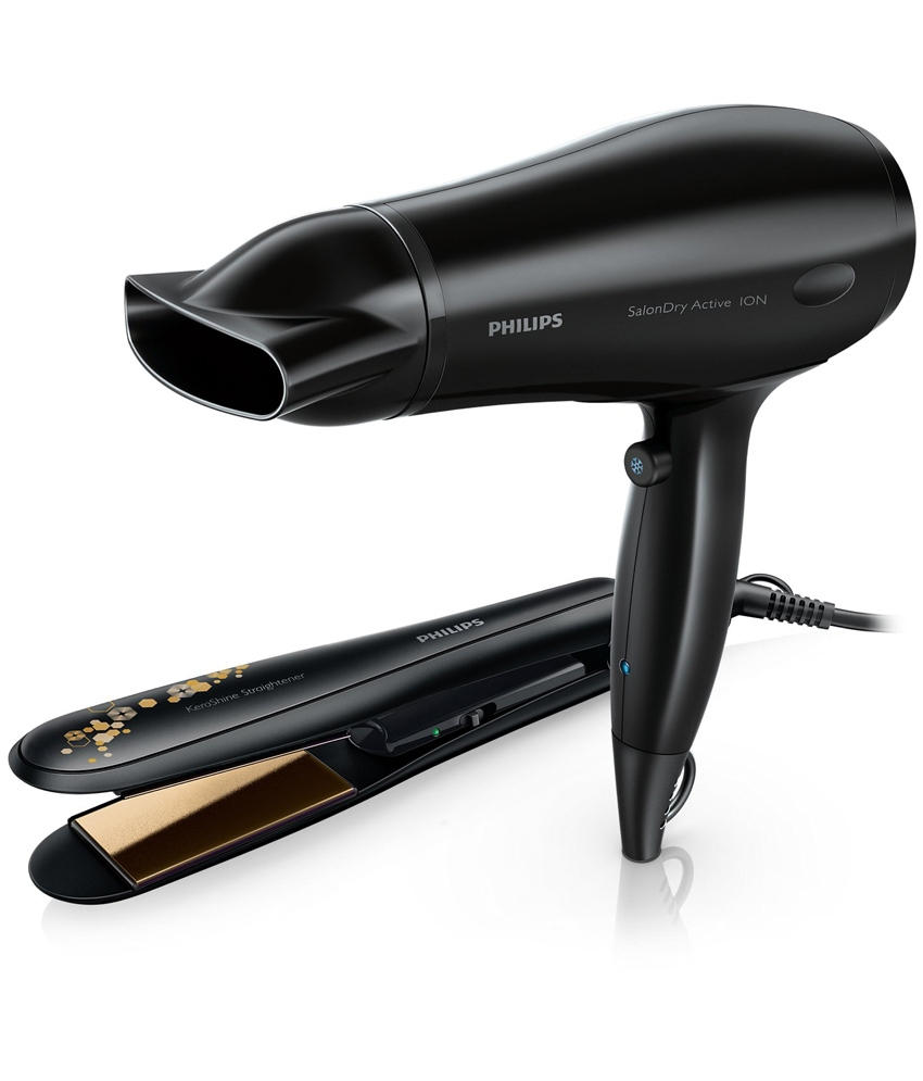 Philips HP8646 Hair Straightener + Hair Dryer Black Get ... Hair Straightener Philips