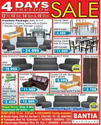 BANTIA FURNITURE Presents 4 Days FREEDOM SALE On All Types Of Furniture At Hyderabad Freedom Package Sofa With 5 Seater Dining Table Chairs