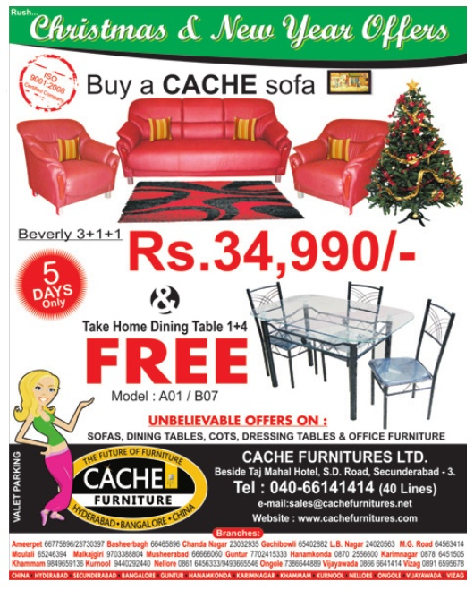 Cache Furniture Presents Christmas New Year Offers On All At Hyderabad
